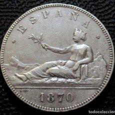 Monedas de España: 5 PESETAS 1870 *-8*-*70-* - GOBIERNO PROV. (4 FOTOS) -PLATA- REF.208. Lote 278233993