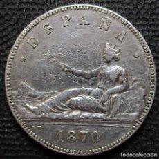 Monedas de España: 5 PESETAS 1870 *18*-*--* - GOBIERNO PROV. (4 FOTOS) -PLATA- REF.207. Lote 278234338