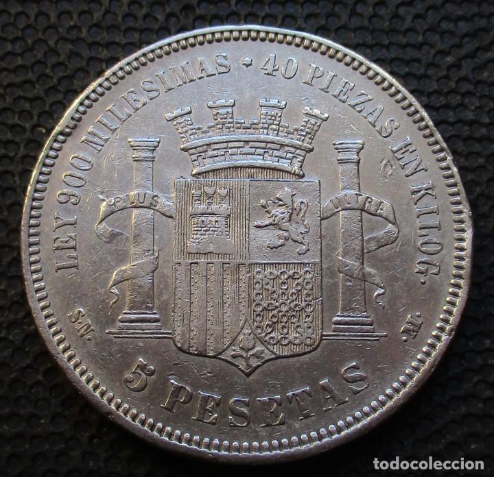 Monedas de España: 5 PESETAS 1870 *-8*-*7--* - Gobierno Prov. (4 Fotos) -PLATA- Ref.204 - Foto 2 - 278235113