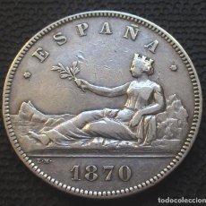 Monedas de España: 5 PESETAS 1870 *-8*-*70-* - GOBIERNO PROV. (4 FOTOS) -PLATA- REF.201. Lote 278236133