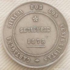 Monedas de España: 5 PESETAS 1873 CARTAGENA 28,19 GRMS ( FICHA ADJUDICACIÓN DE SUBASTA). Lote 278269363