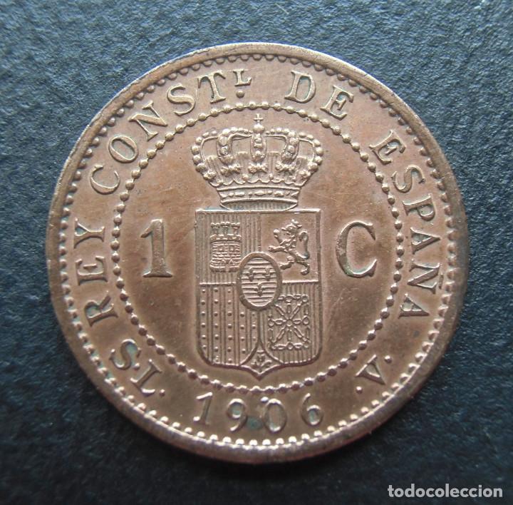 Monedas de España: Alfonso XIII, 1 centimo 1906 SL-V, Estrella 6 - Foto 2 - 278276823