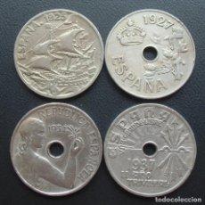 Monedas de España: LOTE 4 MONEDAS DE 25 CENTIMOS, ALFONSO XIII 1925 Y 1927, II REPÚBLICA 1934, GUERRA CIVIL 1937. Lote 278281358