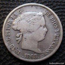 Monedas de España: 4 REALES 1868 MANILA (ESTRELLAS CINCO PUNTAS) ISABEL II -LEER COMENTARIO- -PLATA-. Lote 278324853