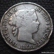 Monedas de España: 40 CENTIMOS DE ESCUDO 1868 *18*-*68* MADRID ISABEL II -PLATA-. Lote 278325128