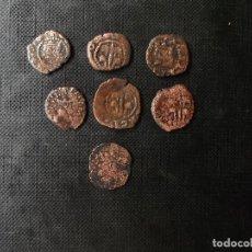 Monedas de España: CONJUNTO DE 7 DINERITOS FELIPE II Y FELIPE III VALENCIA CASA DE AUSTRIA 1500. Lote 278502228