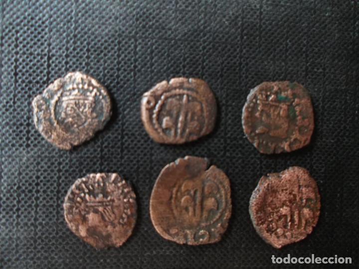 Monedas de España: conjunto de 7 dineritos Felipe II y Felipe III valencia Casa de Austria 1500 - Foto 4 - 278502228