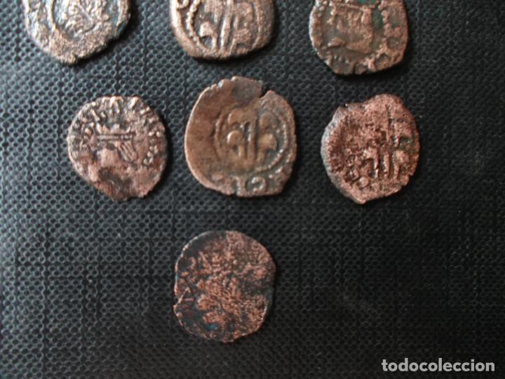 Monedas de España: conjunto de 7 dineritos Felipe II y Felipe III valencia Casa de Austria 1500 - Foto 7 - 278502228