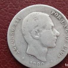 Monedas de España: ALFONSO XII 20 CENTAVOS DE PESO 1880. - MUY ESCASA. (M50). Lote 279571953