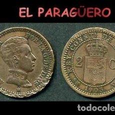 Monedas de España: ESPAÑA MONEDA AUTENTICA DE 2 CENTIMOS SMV AÑO 1905*05 ALFONSO XIII REY DE ESPAÑA DE 1886 A 1931 - N3. Lote 282958958