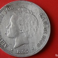 Monedas de España: ALFONSO XIII 5 PESETAS 1.893 *18-93 PGL. EXCELENTE ESTADO DE CONSERVACION. (M9). Lote 284684703