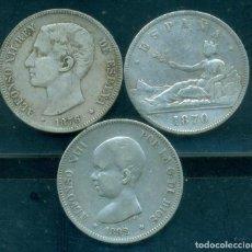 Monnaies d'Espagne: ESPAÑA - LOTE 3 PIEZAS DE PLATA 5 PESETAS - 1870 + 1876 + 1892.. Lote 284763103