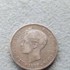 Monnaies d'Espagne: ALFONSO XIII. 5 PESETAS. AÑO 1897 *18 *97. PLATA. Lote 285212388