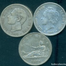 Monnaies d'Espagne: ESPAÑA - LOTE 3 PIEZAS DE 5 PESETAS DE PLATA DIFERENTES - AÑO 1870 + 1883 + 1893.. Lote 285472903