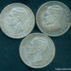 Monnaies d'Espagne: ESPAÑA - LOTE 3 PIEZAS DE 5 PESETAS DE PLATA ALFONSO XII - AÑO 1877 + 1878 + 1879.. Lote 285473938