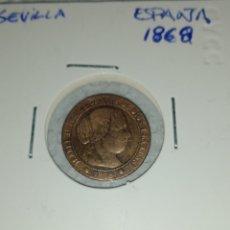 Monedas de España: MONEDA COBRE 1/2 CENTIMO ÚLTIMA EMITIDA DEL REINADO ISABEL II 1868 CECA SEVILLA... BUENA PIEZA. Lote 285525493