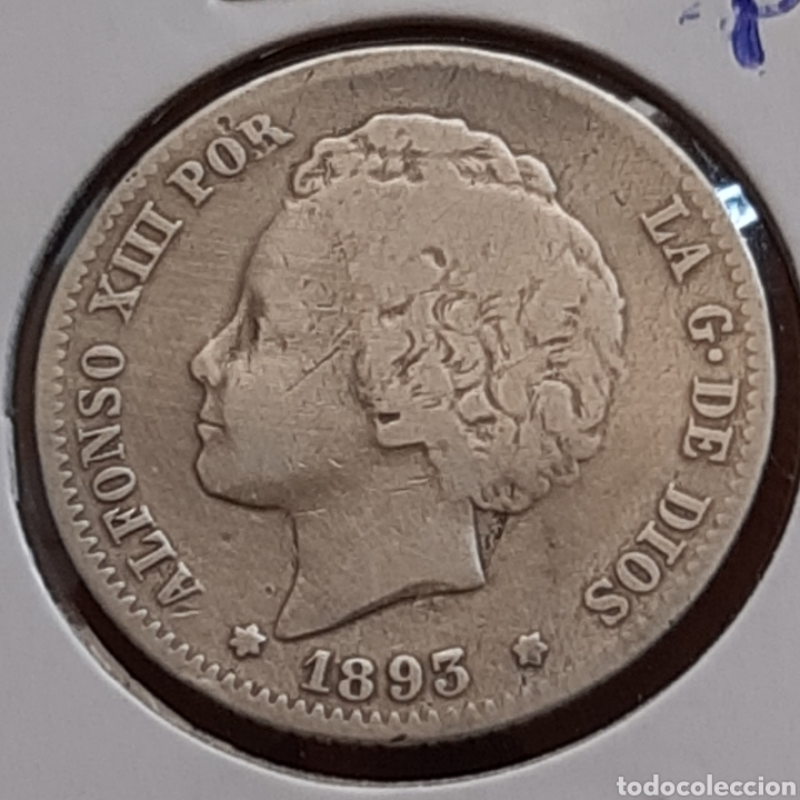 1 PESETA DE PLATA DE 1893 DE ALFONSO 13, ESCASA (Numismática - España Modernas y Contemporáneas - De Isabel II (1.834) a Alfonso XIII (1.931))