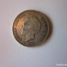 Monedas de España: CINCO PESETAS DE 1893. PGV. ALFONSO XIII. 18-- PLATA. ESCASA.. Lote 286684548