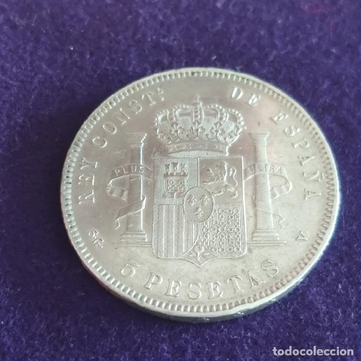 Monedas de España: MONEDA DE 5 PESETAS PLATA DE ALFONSO XIII. AÑO 1898. *18-98. SGV. ORIGINAL. PLATA 900. - Foto 2 - 287265323