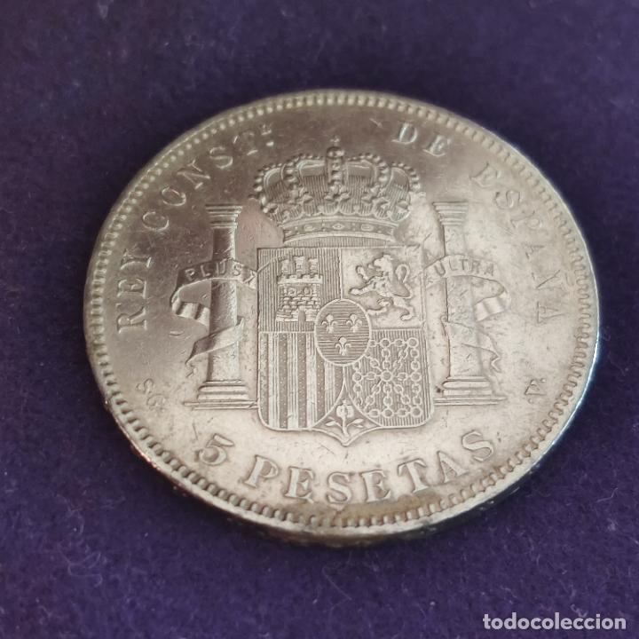 Monedas de España: MONEDA DE 5 PESETAS PLATA DE ALFONSO XIII. AÑO 1898. *18-98. SGV. ORIGINAL. PLATA 900. - Foto 2 - 287265523