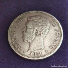 Monedas de España: MONEDA DE 5 PESETAS PLATA DE AMADEO I DE SABOYA. AÑO 1871. *18-71. SDM. ORIGINAL. PLATA 900.. Lote 287266683