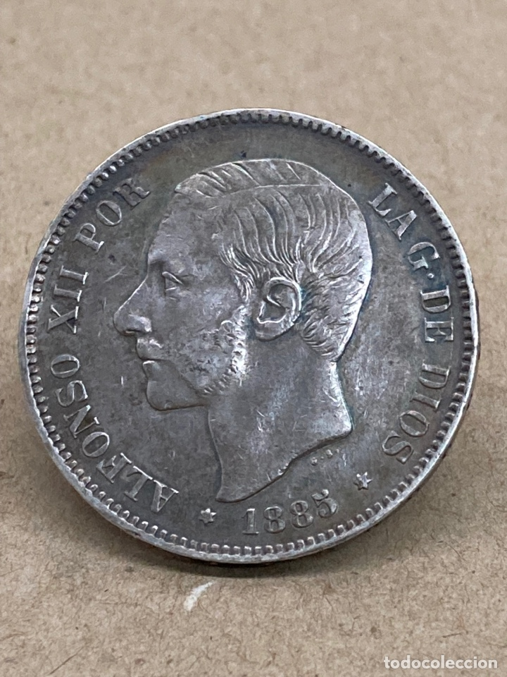 Monedas de España: Moneda de plata 5pesetas 1885 - Foto 2 - 287695313