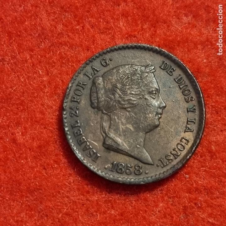 Monedas de España: MONEDA COBRE ISABEL II 10 CENTIMOS DE REAL 1858 SEGOVIA EBC ORIGINAL C8 - Foto 2 - 287741243