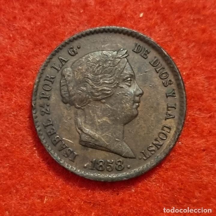 MONEDA COBRE ISABEL II 10 CENTIMOS DE REAL 1858 SEGOVIA EBC ORIGINAL C8 (Numismática - España Modernas y Contemporáneas - De Isabel II (1.834) a Alfonso XIII (1.931))