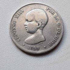 Monedas de España: ALFONSO XIII 5 PESETAS PLATA 1890 *XX-90 MPM BC+. Lote 288160508