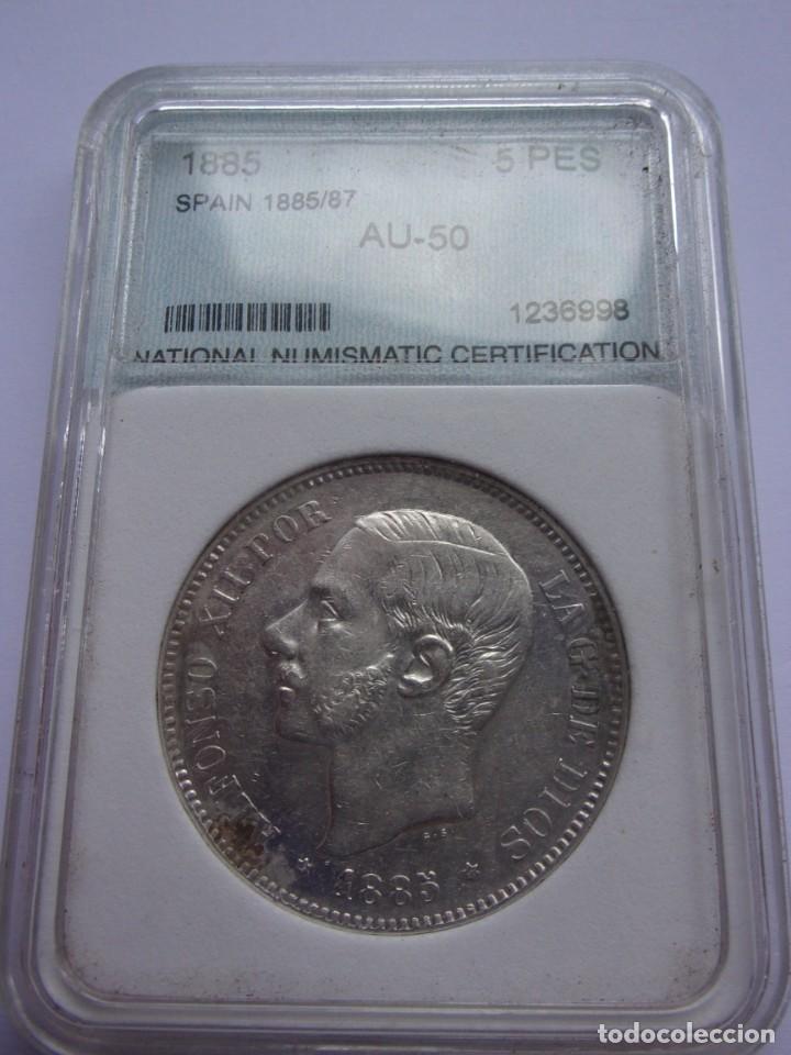 37SCK16 ESPAÑA 5 PESETAS DE PLATA 1885 (18-87) MSM (Numismática - España Modernas y Contemporáneas - De Isabel II (1.834) a Alfonso XIII (1.931))