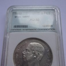 Monedas de España: 37SCK16 ESPAÑA 5 PESETAS DE PLATA 1885 (18-87) MSM. Lote 288228278