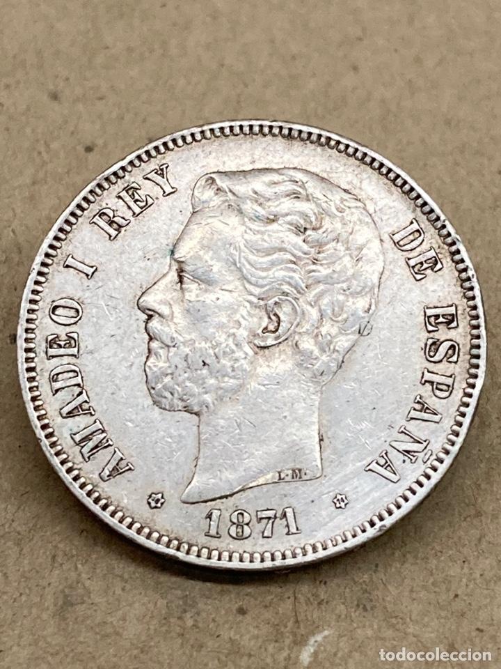 MONEDA DE PLATA 5 PESETAS 1871 DE M (Numismática - España Modernas y Contemporáneas - De Isabel II (1.834) a Alfonso XIII (1.931))
