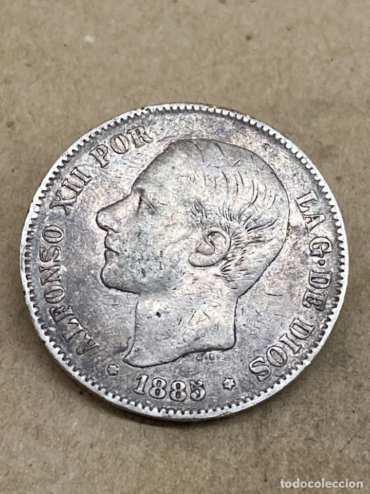 MONEDA DE 5 PESETAS 1885 E87 (Numismática - España Modernas y Contemporáneas - De Isabel II (1.834) a Alfonso XIII (1.931))