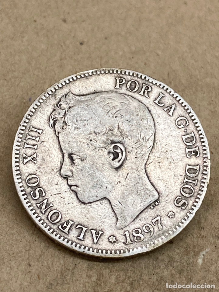 MONEDA DE PLATA 5 PESETAS 1897 E97 (Numismática - España Modernas y Contemporáneas - De Isabel II (1.834) a Alfonso XIII (1.931))