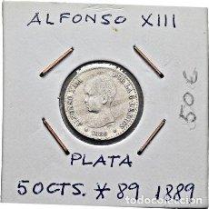 Monedas de España: ALFONSO XIII. MADRID. 50 CÉNTIMOS. 1889*18-89. MPM. MBC+. Lote 289490018