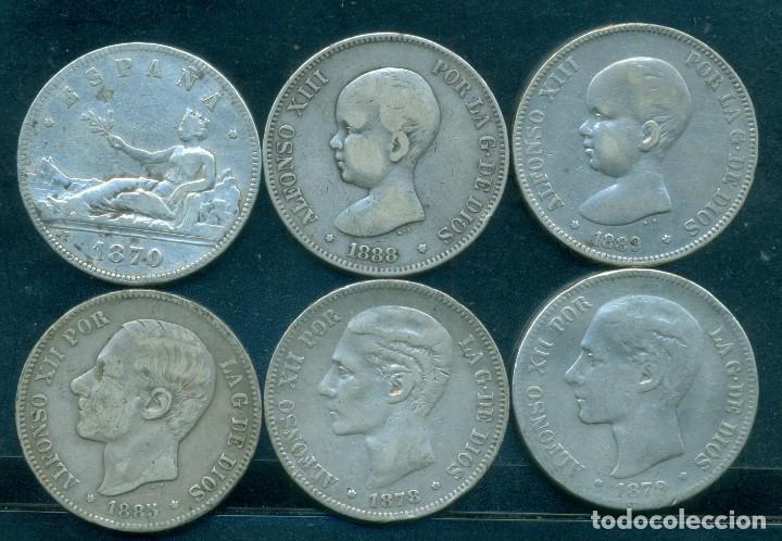 ESPAÑA - LOTE 6 MONEDAS DE PLATA DE 5 PESETAS / DUROS DE PLATA DIFERENTES (Numismática - España Modernas y Contemporáneas - De Isabel II (1.834) a Alfonso XIII (1.931))