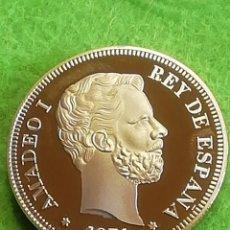 Monedas de España: 100 PESETAS DE AMADEO I REY DE ESPAÑA. BAÑO DE ORO. REPRODUCION. Lote 293875293