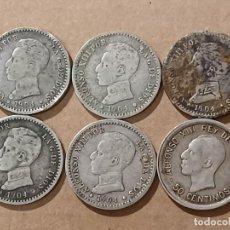 Monedas de España: LOTE 6 MONEDAS PLATA (14,39G) - 50 CÈNTIMOS ÉPOCA ALFONSO XIII - 1904 -1926. Lote 294106278