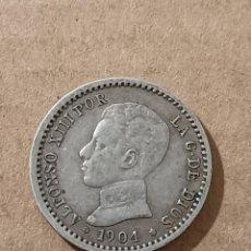 Monedas de España: 50 CÉNTIMOS 1904 *10 ESTRELLAS VISIBLES PCV - ALFONSO XIII - PLATA - 2,47G. Lote 294107703