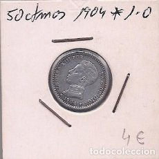 Monedas de España: ESPAÑA - 50 CENTIMOS DE PLATA DE 1904 1*0* - ALFONSO XIII. Lote 295720898