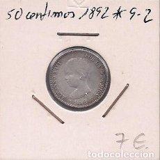 Monedas de España: ESPAÑA - 50 CENTIMOS DE PLATA DE 1892 9*2* - ALFONSO XIII. Lote 295722448