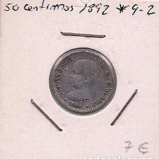 Monedas de España: ESPAÑA - 50 CENTIMOS DE PLATA DE 1892 9*2* - ALFONSO XIII. Lote 295722748