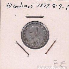 Monedas de España: ESPAÑA - 50 CENTIMOS DE PLATA DE 1892 9*2* - ALFONSO XIII. Lote 295723023