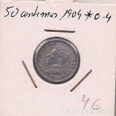 Monedas de España: ESPAÑA - 50 CENTIMOS DE PLATA DE 1904 0*4* - ALFONSO XIII. Lote 295731368