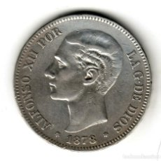 Monedas de España: ESPAÑA 5 PESETAS PLATA 1878 DE.M. CON ESTRELLAS *18* *78* - REY ALFONSO XII. Lote 295984823