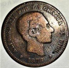 Monedas de España: ESPAÑA - 5 CENTIMOS 1879 OM - ALFONSO XII - 5,25 GR. BRONCE - DIAMETRO 25 MM - KM#674 - MB. Lote 296625883