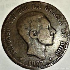 Monedas de España: ESPAÑA - 10 CENTIMOS 1877 OM - ALFONSO XII - 9,75 GR. BRONCE - DIAMETRO 30 MM - KM#675 - MB. Lote 296626338