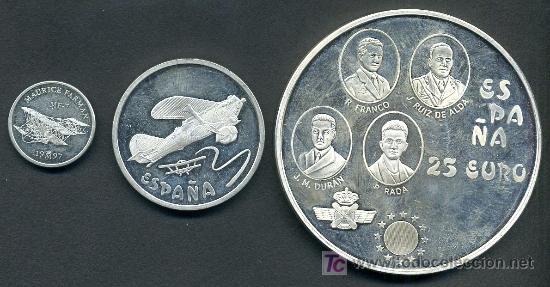 3 MONEDAS 1 EURO , 5 EUROS Y 25 EUROS ,1997 PROOF , HOMENAJE A LA AVIACION. PLATA . (Numismática - España Modernas y Contemporáneas - Ecus y Euros)