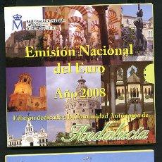 Euros: LOTE DE 2 CARTERAS SET MONEDAS AÑO 2008 EUROS ORIGINALES FNMT ANDALUCIA Y ARAGON ,RB. Lote 191953492
