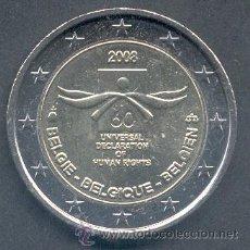Euros: BELGICA 2 EUROS 2008 60 ANIV. DERECHOS HUMANOS. Lote 146186333